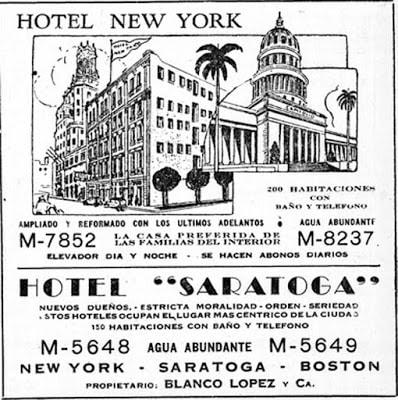 Publicidad del Hotel New Tork año 1949