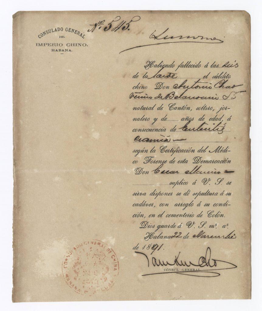 Colonos Chinos. Consulado Chino Certificado de Defunción