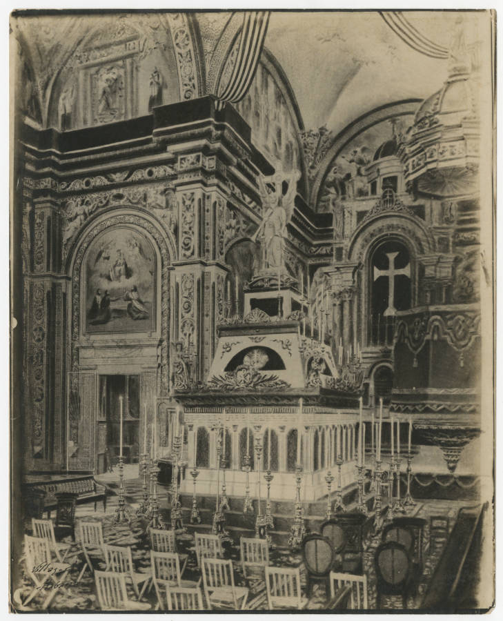 Iglesia de la Merced. Altar interior 1900