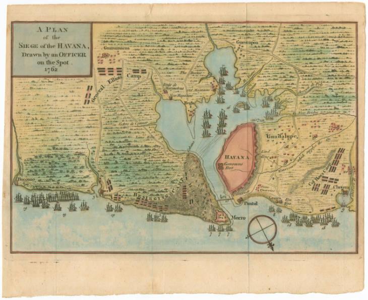 Mapa del asedio a La Habana por fuerzas Inglesas 1762