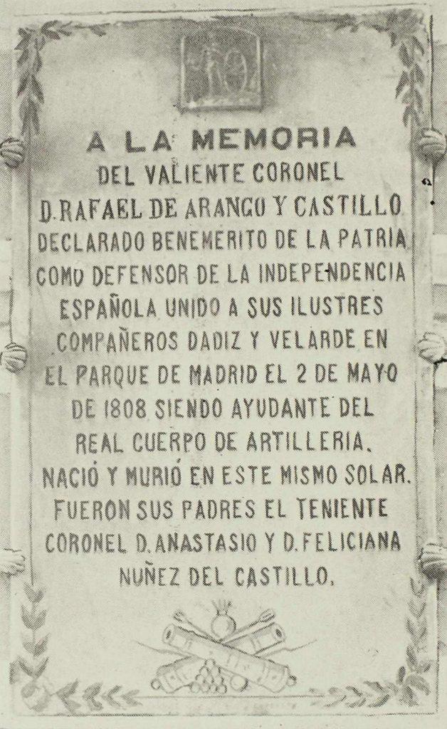 Placa en Honor del coronel Rafael Arango