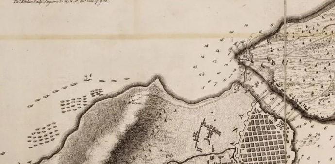 Mapa del asedio a La Habana por fuerzas Inglesas