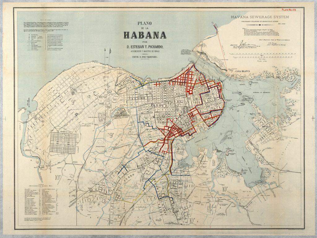 Esteban Pichardo y Tapia. Mapa de La Habana. Alcantarillado.