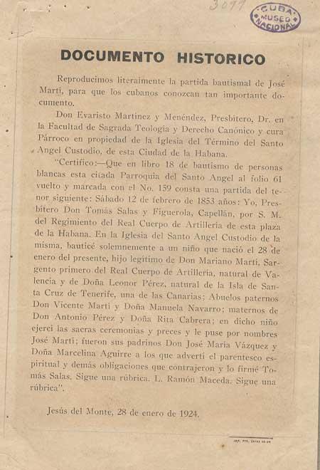Partida de Baurismo José Martí