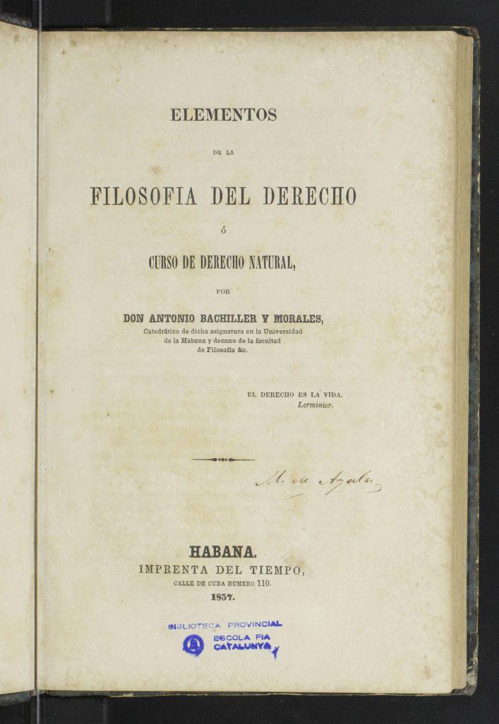 Antonio Bachiller Morales. Filosofía del Derecho