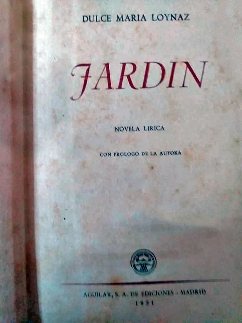 Novela Jardín-Dulce María Loynaz-autografiado