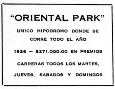 Oriental Park Hipodromo de Marianao Publicidad
