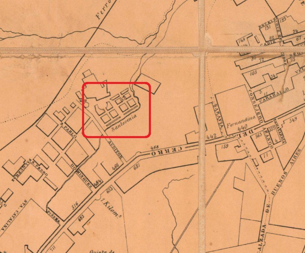 Asilo de Santovenia en un plano de 1857