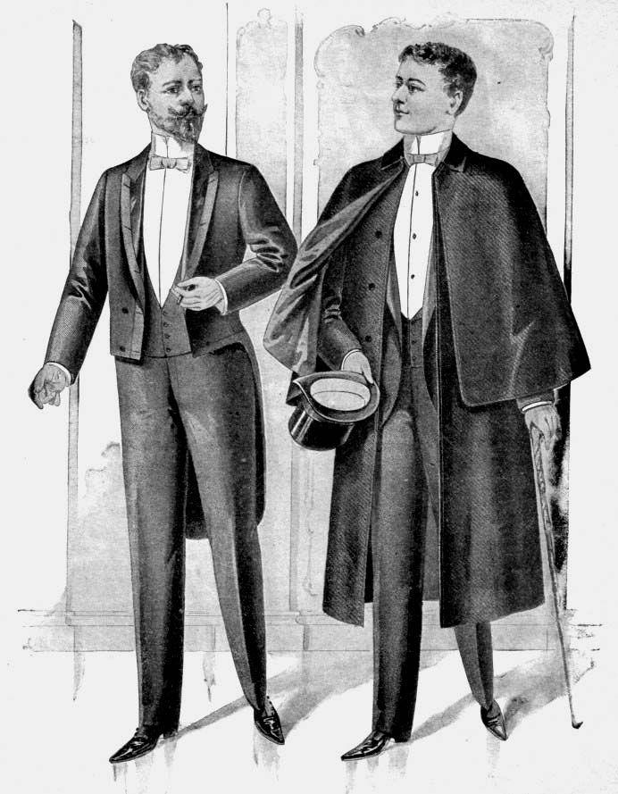 figurines de moda masculina Fracs 1894