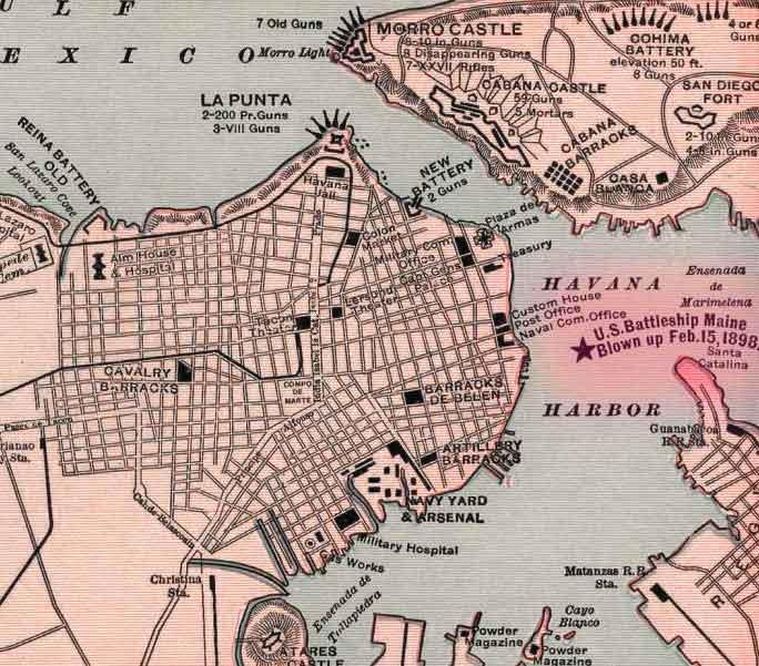 Restos del Maine en un mapa de La Habana