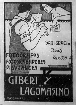 Publicidad del estudio de fotografía Gilbert y Lagomasino por Conrado Massaguer (1910)