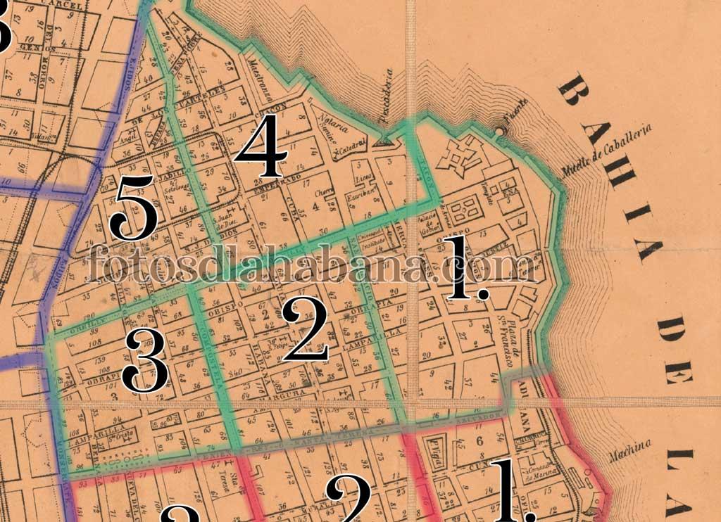 distritos y barrios de La Habana en 1856