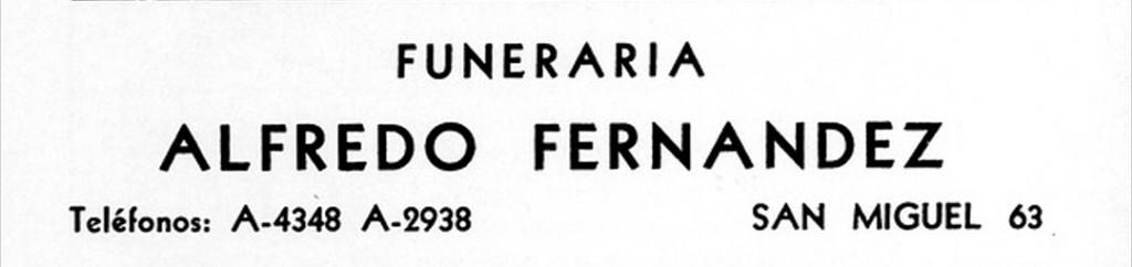 Publicidad de la Funeraria Fernández en la calle San Miguel de La Habana (década de 1930)