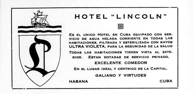 Hotel Lincoln (Publicidad de 1935)