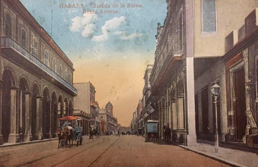 Postal antigua de la calle Reina (La Habana - Cuba)
