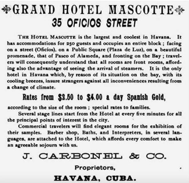 Publicidad del hotel Mascotte de La Habana