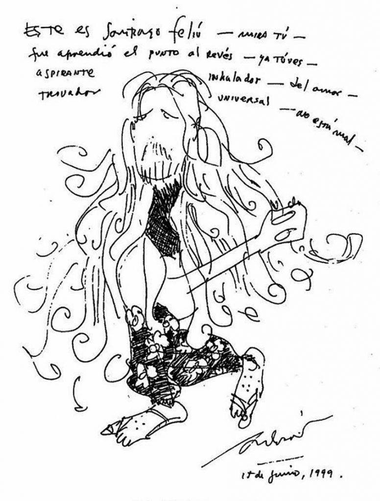 Santiaguito Feliú dibujado por Silvio Rodríguez
