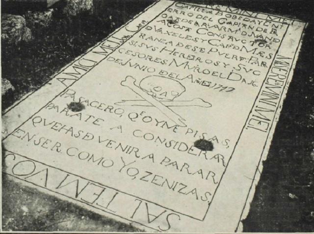 Tumba de Juan de Acosta Cementerio Viejo de Guanabacoa