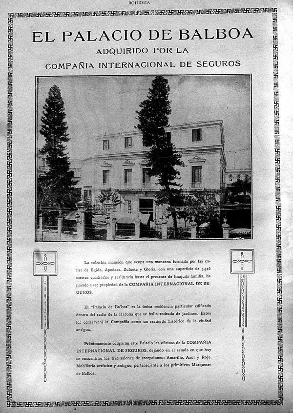 Palacio de Balboa_anunció de la revista Bohemia