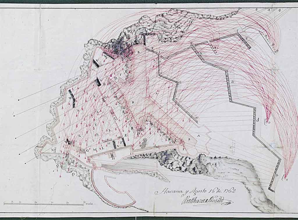 plano bombardeo morro por ingleses 1762