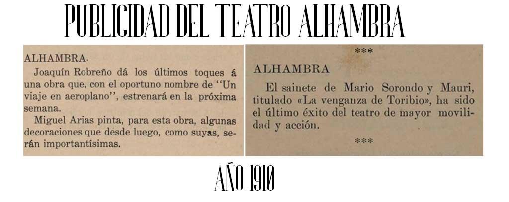 publicidad del teatro alhambra