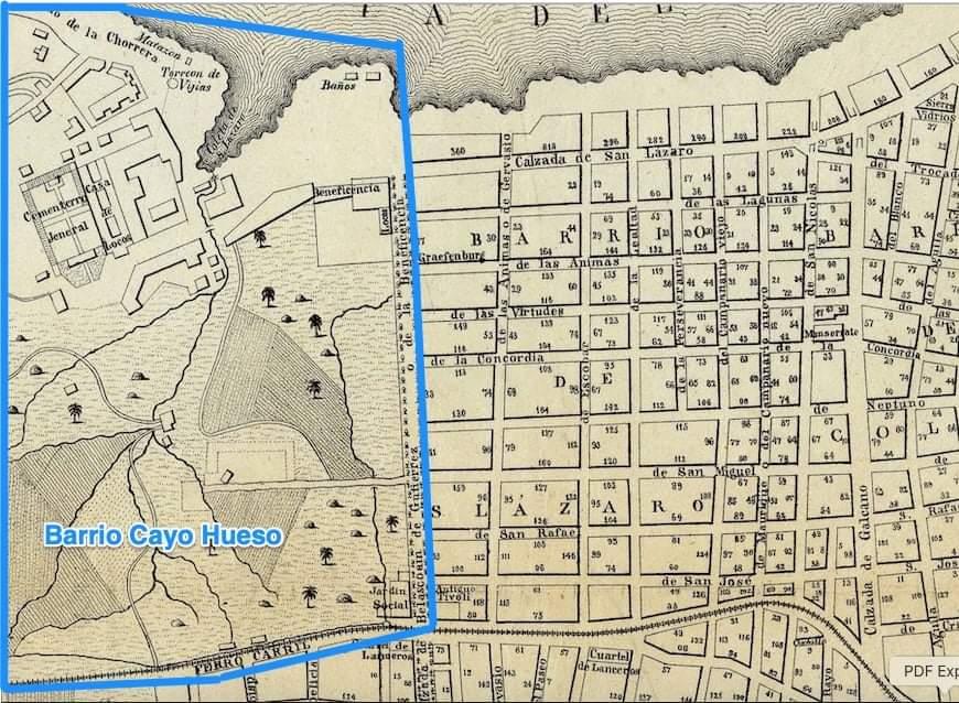 Plano de la década de 1850 en el que se observan ya algunos edificios públicos en lo que luego sería la barriada de Cayo Hueso