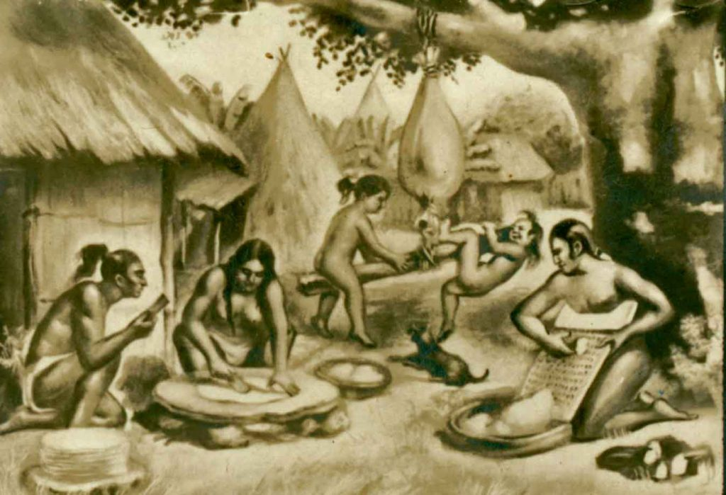 Aborígenes elaborando casabe