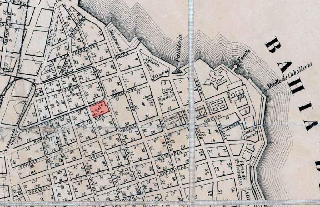 Hospital de San Juan de Dios en un mapa de 1857