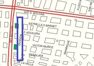Calle División señalada en un plano de 1929