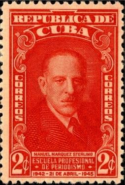 Sello postal conmemorativo del tercer aniversario de la Escuela de Periodismo Manuel Márquez Sterling