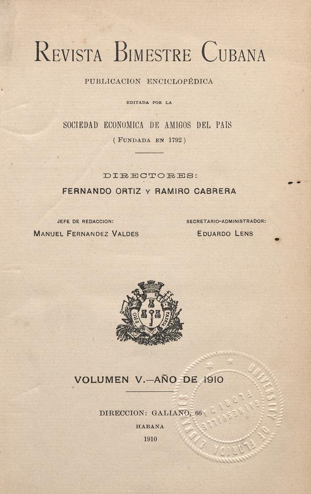 Revista Bimestre Cubano. Revistas de la Habana