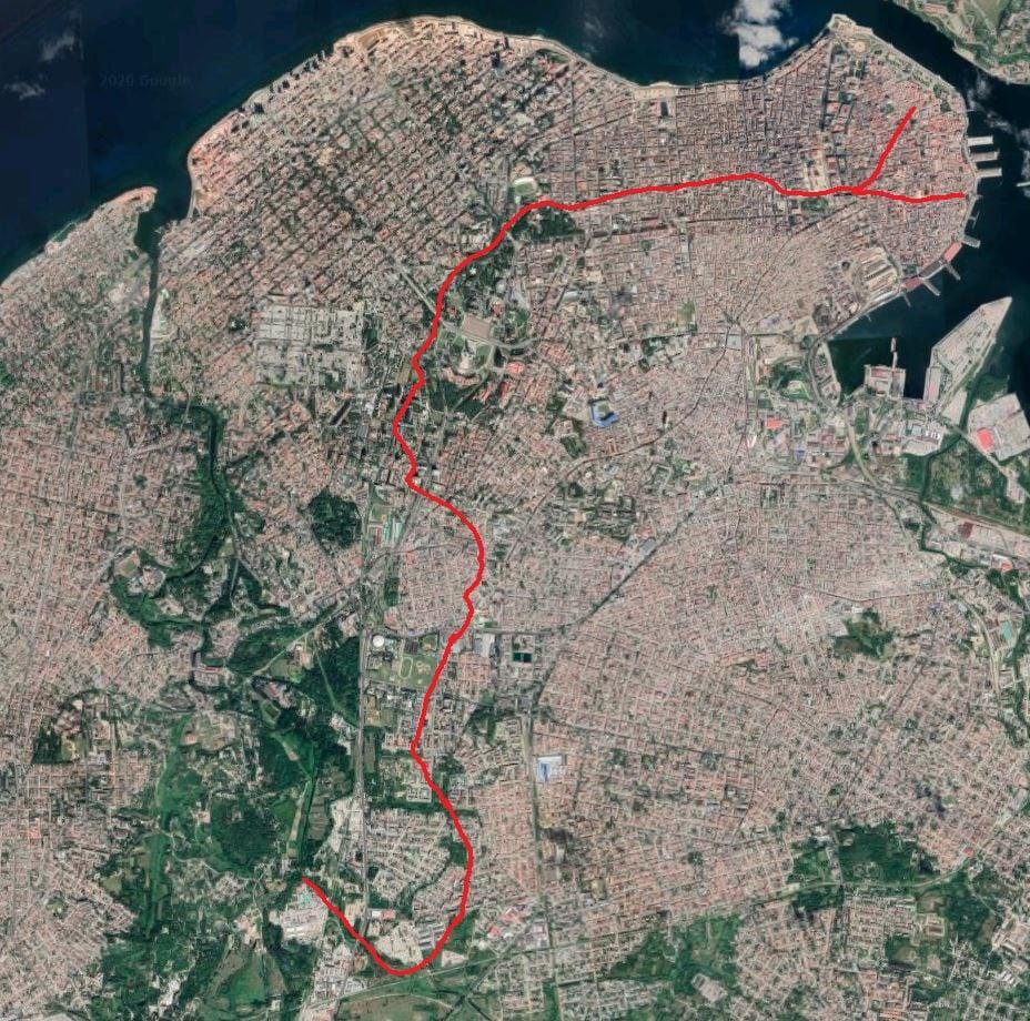 recorrido de la zanja, imagen satelital