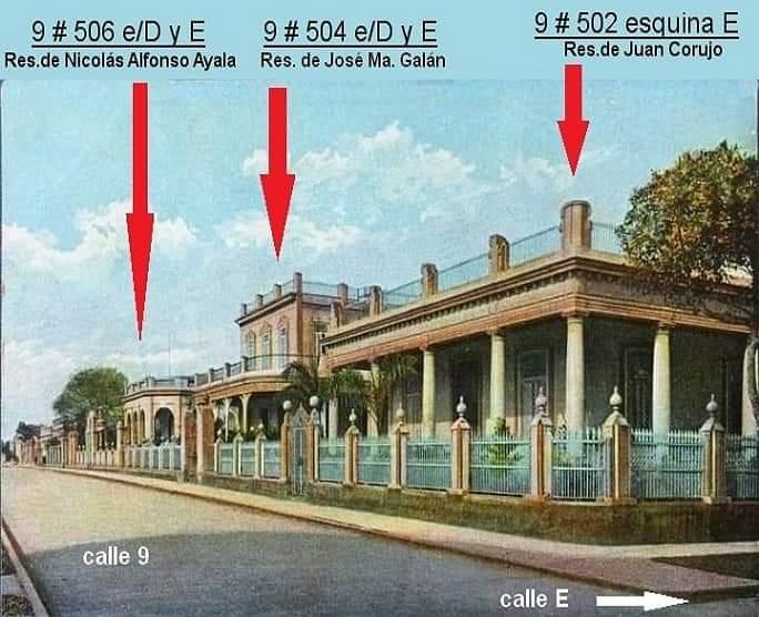 Antigua postal de la calle 9 o línea del Vedado