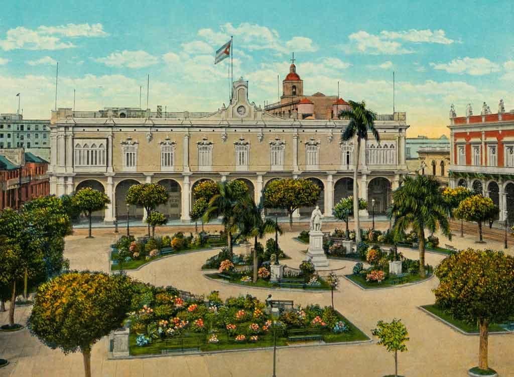 palacio-de-los-capitanes-generales-plaza-de-armas--litografía-finales-de-los-años-20