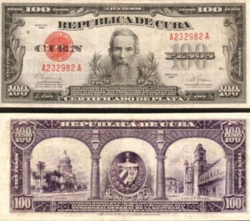 Certificado de plata cuba billete de mil pesos