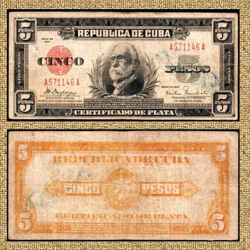 Cuba certificado de plata peso gomez