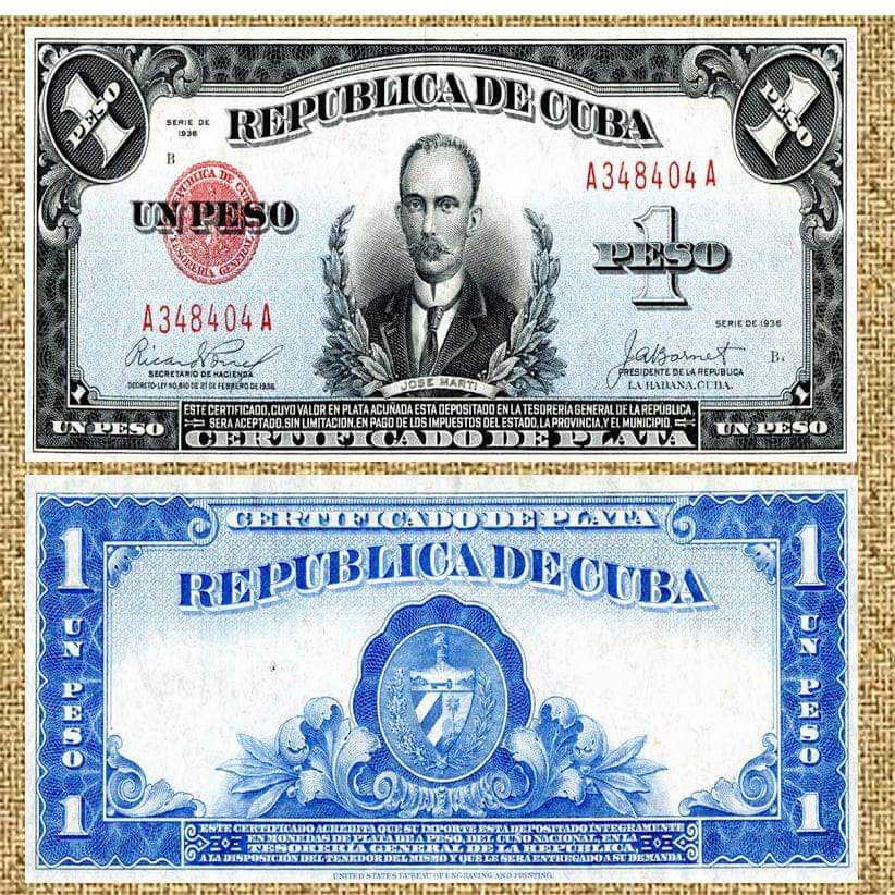 Cuba certificado de plata peso marti