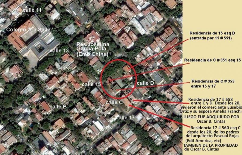 Vista satelital del complejo residencial de Oscar Cintas en el Vedado