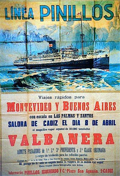 Publicidad del liner Valbanera de la Línea Pinillos