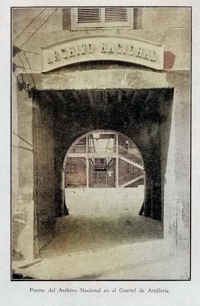 puerta del archivo nacional en el cuartel de artilleria